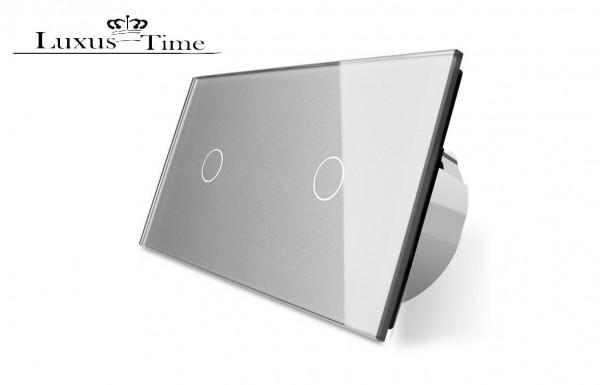 Dimmer Glas Touch Lichtschalter Wandschalter Ein/Aus C701D/C701D-15 Grau LIVOLO