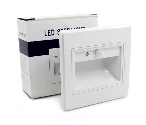 LED Innen Treppenbeleuchtung mit IR Infrarot Bewegungsmelder 1W Leuchte Weiß