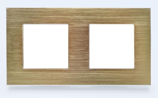2Fach Rahmen Alu Gold Lux