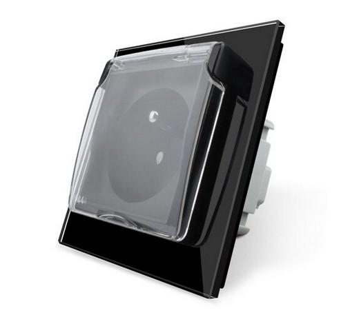 LIVOLO Design Glas Steckdose Schutzabdeckung 1 Fach C7-1WF/SR/C1FR-12-A Schwarz