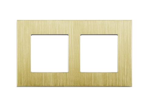 Gold, Nur Alu Rahmen 2 Fach LUX
