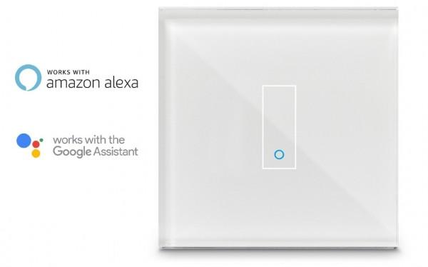 iotty Smart Schalter 1 Fach WiFi SmartHome Switch Lichtschalter Touch Glas Weiß E1-11