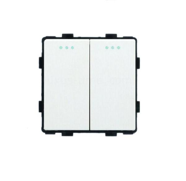 LUX Wipp Lichtschalter/Wechselschalter Modul 2 Fach in Weiß LX-102M-11