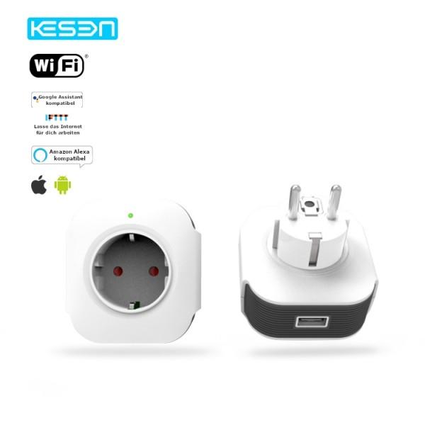 Smart Steckdose Weiß WLAN APP Schuko Google Home Amazon Alexa kompatibel 2x HS02-11