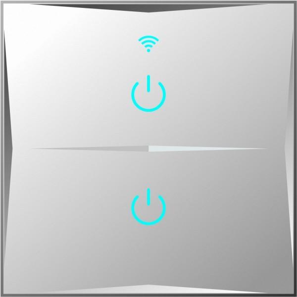 Smart Lichtschalter 2 Fach Weiß WLAN APP Touch Google Home Amazon Alexa 5x HL02-11