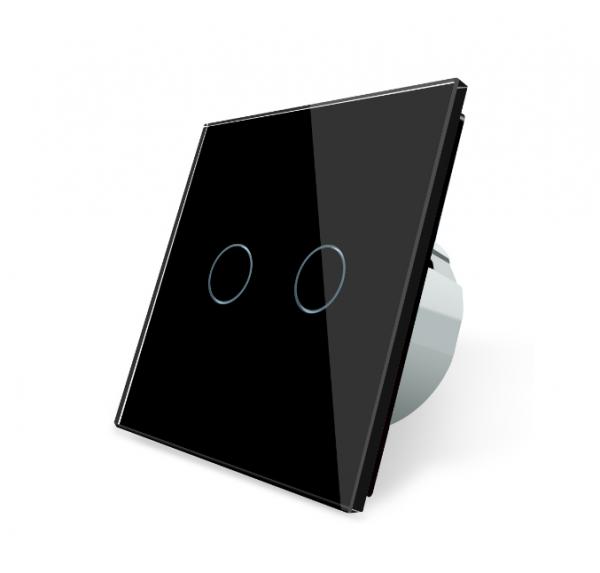 LIVOLO Glas Touch Lichtschalter Serienschalter Wandschalter VLC702-12 Schwarz