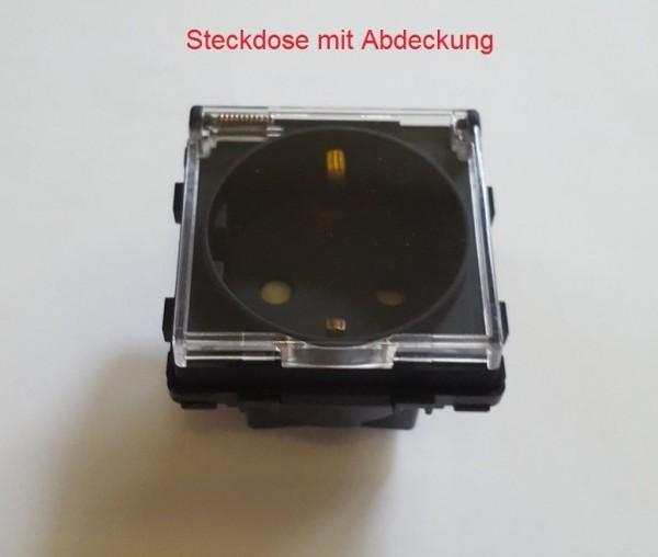 Steckdose mit Abdeckung Schwarz LUX4999 Schwarz