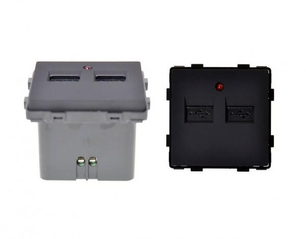 USB 2fach zum aufladen Schwarz LUX4999 Schwarz