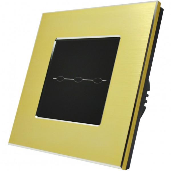 Lichtschalter Aluminium Glas Touchscreen Wandschalter 3Weg Gold/Schwarz