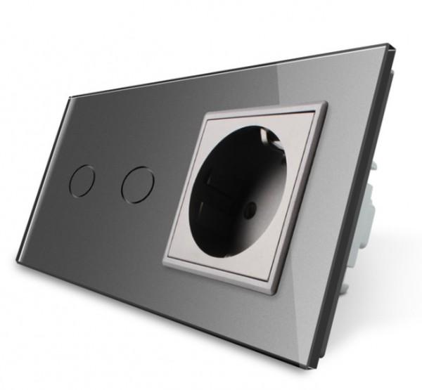 Livolo Glas Serienschalter Lichtschalter / Steckdose VL-C702-15/C7C1EU-15 Grau