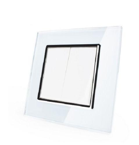 WechselschalterLichtschalter Wippschalter Glas Weiß VL-C7-K2S-11 mit Glasrahmen