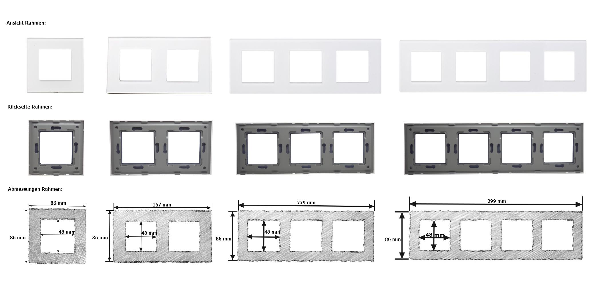 LUX Touch Glasrahmen Lichtschalter Steckdosen USB HDMI Weiss/Weiss ...