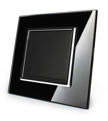 LIVOLO Wipp Lichtschalter Wandschalter Kippschalter Ein/Aus mit Glasrahmen VL-C7-K1-12