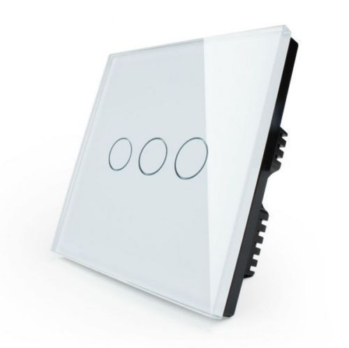 Glas Touch Lichtschalter Wandschalter für 3 Stromkreise VL-C303-11 Weiß