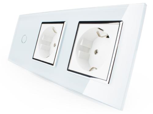 Livolo Glas Touch 2 fach Dimmer Lichtschalter Wandschalter grau 701D-15/701D-15