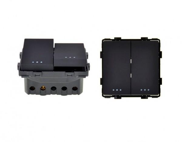 Wipp Wechselschalter 2fach Schwarz LUX4999 Schwarz