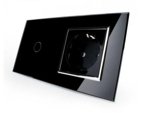 Lichtschalter Wandschalter Glas Touch An/Aus Steckdose VLC701/C7C1EU-12 Schwarz